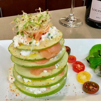 Apple, smoked salmon and cottage cheese