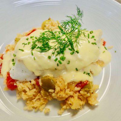 Cod-filet-and-Hollandaise-sauce